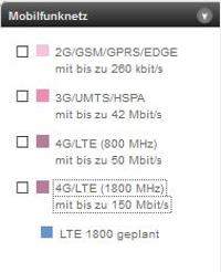 Die LTE-Frequenzen auf der 4G-Karte von T-Mobile (Quelle: Telekom)