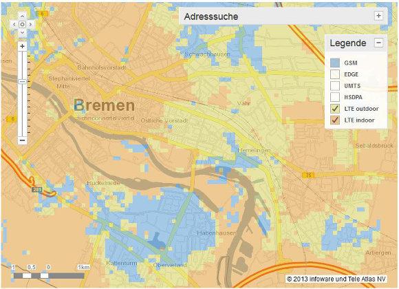 Deutliche Unterschiede bei der LTE-Verfügbarkeit mit LTE outdoor und LTE indoor (Quelle: Vodafone.de)